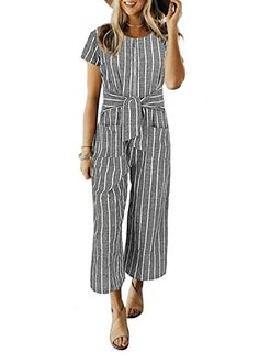 d89d5189dfc Amazon.com  Cosygal Women Striped Linen Short Sleeves Wide Leg Jumpsuit  Romper with Zip Pockets Belt  Clothing