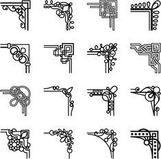Simple corner ornaments vector