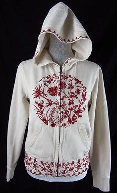 LUCKY BRAND Floral Print Embroidery L Red Beige Jacket Hoodie Coat Zip Up Cotton $39.99