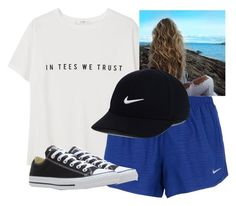 """""""in tees we trust"""" by haileyhoksbergen on Polyvore featuring MANGO, NIKE and Converse"""