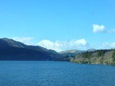 Mount Fuji in winter taken from Lake Hakone, Japan