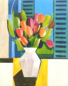 Tulips and Blue Shutters. Still Life Art by Jan Rippingham
