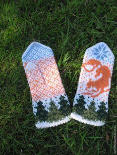 Купить Варежки ЛИСА - варежки, варежки женские, варежки ручной работы, варежки вязаные Knitted Mittens Pattern, Knit Mittens, Knitted Gloves, Knitting Patterns, Crochet Patterns, Wrist Warmers, Hand Warmers, Fair Isle Knitting, Hand Knitting