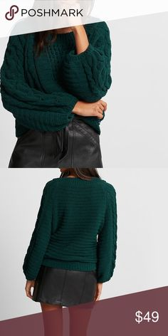NWT Cable knit balloon sleeve sweater Amazon green color Boat neck  Long balloon sleeves Super soft cable knit Hi-lo hem Polyester Hand wash recommended Express Sweaters