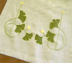 arts & crafts, art nouveau runners - make ginko stamp and embroider the rest? A pillow?