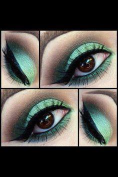 Green makeuGreen eye makeup. St. Patrick's eye look