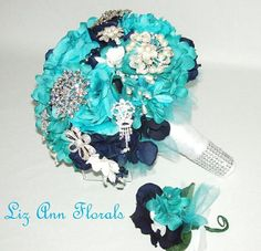 This is a stunning Turquoise, Navy and White Wedding Brooch Bouquet and Boutonniere Set with rhinestone and pearl brooches, that I created for one of my brides, but I can make one for you too. It s p
