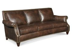 The Bates Stationary Sofa 8-Way Tie is offered in hundreds of leather options and comes standard with Nailhead Trim #9 in a Natural Finish.