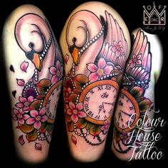 swan tattoo flash - Would replace the clock with a dream catcher though. Swan Tattoo, Golden Apple, Neo Traditional, Get A Tattoo, Cute Tattoos, Hair Designs, Tattoo Images, Tattoo Inspiration, Tatting
