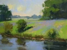 """""""Farm Pond & Bluebonnets"""" - Plein Air Painting by Rusty Jones.  9"""" x 12"""" Oil.  Our exceptional plein air artists capture the moment in the natural world as only such talent can do, extending days of summer's promise - June 1st, 2012 - Artist demonstrations and reception throughout the day:   Bob Rohm 12-2   Rusty Jones 6 to 8 p.m.  Come see and enjoy this breath of fresh air, en the plein…"""
