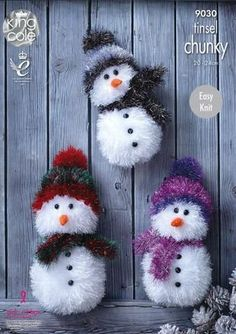 King Cole Tinsel Chunky Easy Knit Knitting Pattern for Snowman Christmas Toys 3 Sizes - I Crochet World Chunky Knitting Patterns, Christmas Knitting Patterns, Easy Knitting, Knitted Toys Patterns, Loom Knitting, Knitting Stitches, Christmas Tinsel, Christmas Toys, Christmas Snowman