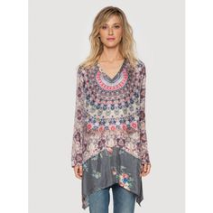 Biya Circle Tunic The Johnny Was Signature Silk BIYA CIRCLE TUNIC features a stunning circular geometric print in chic purple hues on luxurious silk, with a contrast grey floral print bottom panel along the trapeze hemline. Pair this printed silk tunic top with dark wash skinny jeans and heeled boots for an effortless boho-chic look!