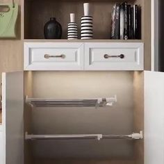 Adjustable Storage Rack-maximum load and ensure that your cabinet will not be scratched Diy Kitchen Storage, Storage Cabinets, Kitchen Rack, Home Organization Hacks, Kitchen Organization, Medicine Organization, Closet Organization, Organizing, Storage Rack