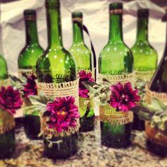 DIY Wedding Wine Bottle   DIY / Wine bottles just got a face lift for fun wedding tables.