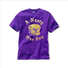 """Omega Psi Phi Nasty Que Dog Tee: Heavyweight cotton t-shirt with sewn on artwork of a growling mascot bulldog and old gold text """"A Nasty Que Dog"""" arou Omega Psi Phi, Shirt Quilt, Fraternity, Golf Bags, Thunder, Tees, Friendship, Blood, Mens Tops"""