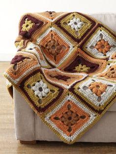 Harvest Patchwork Afghan: free #crochet pattern