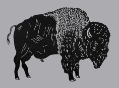American Bison  original linocut print animal by TheInkeryStore