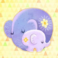 Mommy And Baby Elephant (Artist Kat Uno) Mother And Baby Elephant, Little Elephant, Elephant Love, Elephant Illustration, Cute Animal Illustration, Digital Illustration, Elephant Party, Elephant Nursery, Canvas Art Quotes