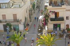 View of the main piazza from the top of the church, San Vito lo Capo, Sicily, Italy