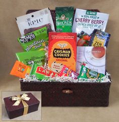 With a variety of paleo treats hand arranged in a burgundy case the elegant Paleo Delights basket is sure to please. Paleo Gift Baskets
