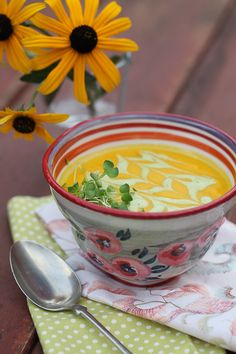 Sweet curry butternut squash soup with cilantro cream