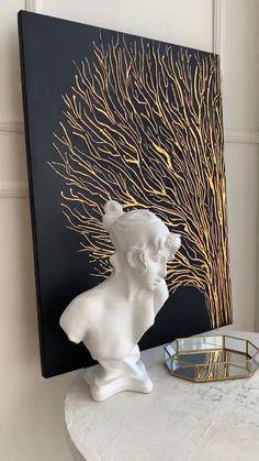 Tree Canvas, Diy Canvas Art, Painting On Black Canvas, Textured Canvas Art, Texture Painting On Canvas, Gold Canvas, Modern Canvas Art, Artwork Paintings, Art Painting Gallery