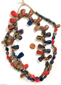 Kiffa Powder Glass Beads Old Mauritanian African 44 Inches - African (over $100) - Beads