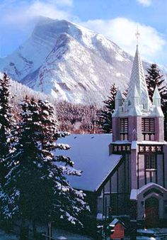 paul's church with a snow-capped mt. rundle in the canadian rockies Romantic Things To Do, Most Romantic Places, Canada National Parks, Banff National Park, Lake Louise Banff, Banff Springs, Picture Places, Cathedral Church, Wedding Locations