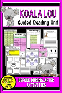 Koala Lou is a sweet book, and this *newly updated unit now comes in digital for Google Slides TM and pdf formats. It is perfect for small group and paired reading. It includes choices for before, during, after reading that students can complete via an iPad or Laptop or with a printable. Activity options are: schema building about koalas (alphaboxes), vocabulary, sequencing, story elements, character traits, making connections, visualizing, research about koalas and Australia, and writing. 2nd Grade Teacher, 3rd Grade Classroom, Fourth Grade, Mem Fox Books, Teaching Resources, Teaching Ideas, Reading Comprehension Activities, 3rd Grade Reading, Story Elements