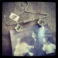 Vintage Metal Coat Hanger Photo Holder Different and unusual way to display your favourite photo Size 21x2 5x24