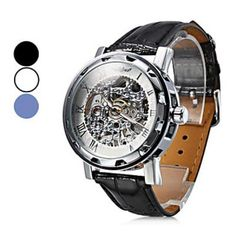 Hot Sale Fashionable Women and Men's Mechanical Wristwatches with Analog Black PU Watchband (Mutil-Color)