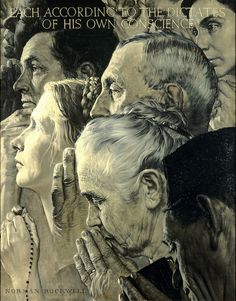 """Heads and hands at prayer are the dominant features in Norman Rockwell's 1943 painting, """"Freedom of Worship."""" This past week, when President Trump announced his travel ban on Muslims, a museum group announced that Norman Rockwell's """"Four Freedoms"""" paintings will begin an international tour in 2018."""