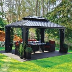 What is Outdoor Gazebos? A gazebo is a pavilion structure, sometimes octagonal or turret-shaped, often built in a park, garden or spacious public area. Outdoor Gazebos Design A out Cozy Backyard, Backyard Gazebo, Backyard Patio Designs, Backyard Landscaping, Small Gazebo, Landscaping Ideas, Gazebo On Deck, Small Patio, Backyard Ideas