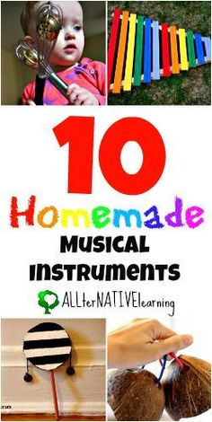 10 Homemade Musical Instrument Ideas that you can make for your little one. Or if you have preschool or kindergarten aged children it would make a great craft idea! Preschool Music, Music Activities, Teaching Music, Toddler Activities, Movement Activities, Toddler Crafts, Homemade Musical Instruments, Music Instruments, Musical Instruments For Toddlers
