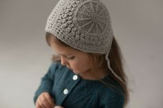 Alpaca Lace Girl Bonnet - Cloud Grey