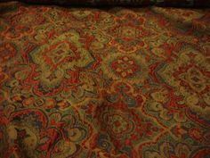 "San Luis Wine Damask Chenille Blend Upholstery Drapery fabric by the yard 57"" Wide"
