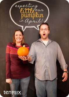 What a cute pregnancy announcement, would be really cute for a baby due around Halloween.
