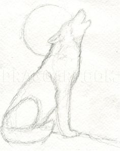 Art Drawings Sketches Simple, Animal Sketches, Pencil Art Drawings, Easy Drawings, Drawing Ideas, Drawing Guide, Wolf Drawing Easy, Drawing Step, Wolf Howling Drawing