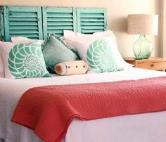 aqua and coral bedroom