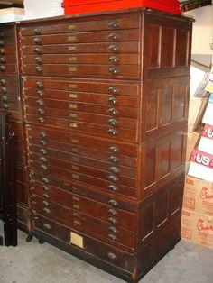 Large Vintage 21 Drawer Blueprint Map Cabinet Antique | eBay