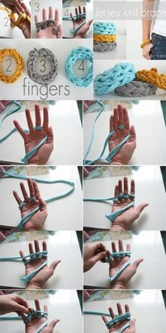 Handicrafts-finger knit bracelet - so many options with this idea which can be completed in ONE SESSION. Great.