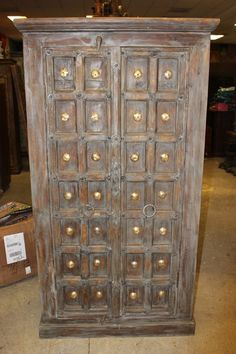 Antique Mid Century Rustic Wardrobe Armoire For Sale - Image 4 of 4 Rustic Cabinets, Antique Cabinets, Antique Doors, Armoire Cabinet, Cabinet Furniture, Antique Furniture, Wood Furniture, Bedroom Furniture, Stone Sculpture