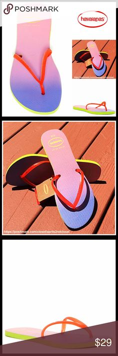 ⭐️⭐️ HAVAIANAS SANDALS Flip Flops HAVAIANAS Flip Flops Flat Sandals *NEW WITH TAGS*   * Thong toe strap.  * Printed logo ombré color footbed  * Contrasting slim straps  * Water resistant  * Open toe & slip on style.  * True to size, tagged sizes 39-40 = U.S. women's sizes 9-10 Material: Rubber upper & sole Color- Strawberry red , lime green , purple Item# SEARCH# flatform 🚫No Trades🚫 ✅ Offers Considered*✅ *Please use the blue 'offer' button to submit an offer. Havaianas Shoes Sandals