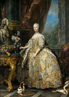 'Marie Leszczinska, Queen of France (1703-1768)' 1747 by Charles-André van Loo.  Marie Leszczyńska was a Polish princess who married Louis XV of France. She became the longest serving Queen consort of France.
