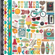 Simple Stories - I Heart Summer Collection - 12 x 12 Cardstock Stickers - Fundamentals at Scrapbook.com