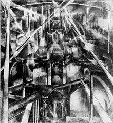 """Brooklyn Bridge by Joseph Stella. Oil. 84"""" x 76"""". ca. 1919–192"""