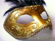 Classic Venetian mask with feather and lace Venetian, Activities For Kids, Cuff Bracelets, Feather, Lace, Classic, Blog, Party Ideas, Jewelry