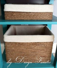 diy Design Fanatic, make a basket from a cardboard box and jute~I may have to do this. I can't find a basket the right size. Diy Projects To Try, Crafts To Do, Home Crafts, Diy Home Decor, Craft Projects, Craft Ideas, Twine Crafts, Project Ideas, Decorating Ideas