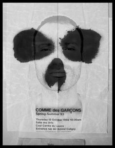 Poster for Comme Des Garcons spring summer 1993 Graphic Design Typography, Graphic Design Art, Graphic Design Illustration, Branding Design, Design Poster, Design Graphique, Monochrom, Fashion Graphic, Grafik Design