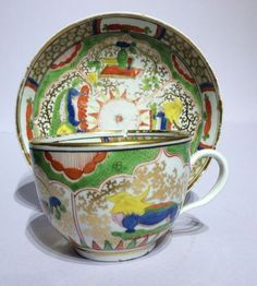 Coalport Tea Cup & Saucer c1810 Dragons